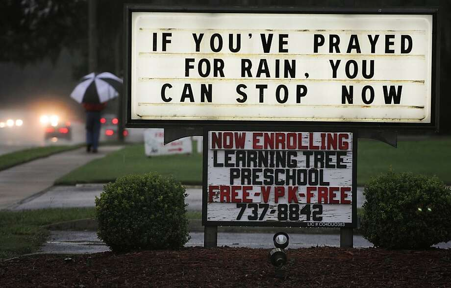 TROPICAL STORM DEBBY:This storm was the earliest fourth storm of the season on record, when it formed June 23 in the Gulf of Mexico. A message in Jacksonville, Fla., on June 25 sums up local sentiment.  Photo: Kelly Jordan, Associated Press