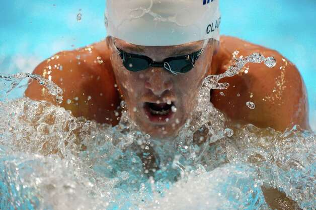 Tyler Clary swims in the men's 400-meter individual medley preliminaries at the U.S. Olympic swimming trials, Monday, June 25, 2012, in Omaha, Neb. (AP Photo/Mark J. Terrill) Photo: Associated Press