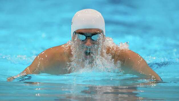 Michael Phelps swims in the men's 400-meter individual medley preliminaries at the U.S. Olympic swimming trials, Monday, June 25, 2012, in Omaha, Neb. (AP Photo/Mark J. Terrill) Photo: Associated Press