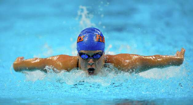 Elizabeth Beisel swims in the women's 400-meter individual medley preliminaries at the U.S. Olympic swimming trials, Monday, June 25, 2012, in Omaha, Neb. (AP Photo/Mark J. Terrill) Photo: Associated Press