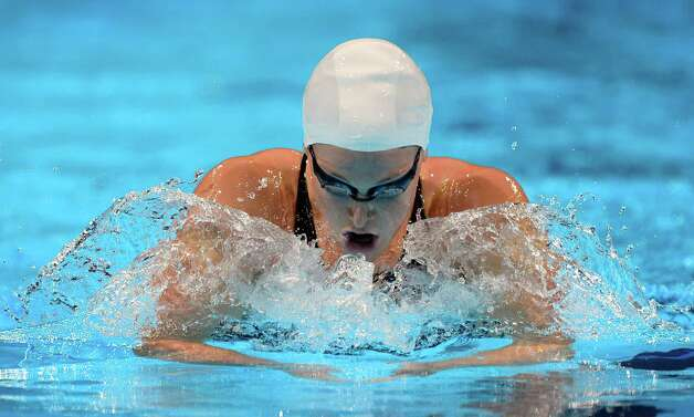 Caitlin Leverenz swims in the women's 400-meter individual medley preliminaries at the U.S. Olympic swimming trials, Monday, June 25, 2012, in Omaha, Neb. (AP Photo/Mark J. Terrill) Photo: Associated Press