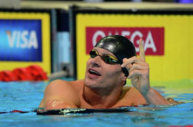 Brendan�Hansen reacts after swimming in a men's 100-meter breaststroke semifinal at the U.S. Olympic swimming trials, Monday, June 25, 2012, in Omaha, Neb. (AP Photo/Mark J. Terrill) Photo: Associated Press