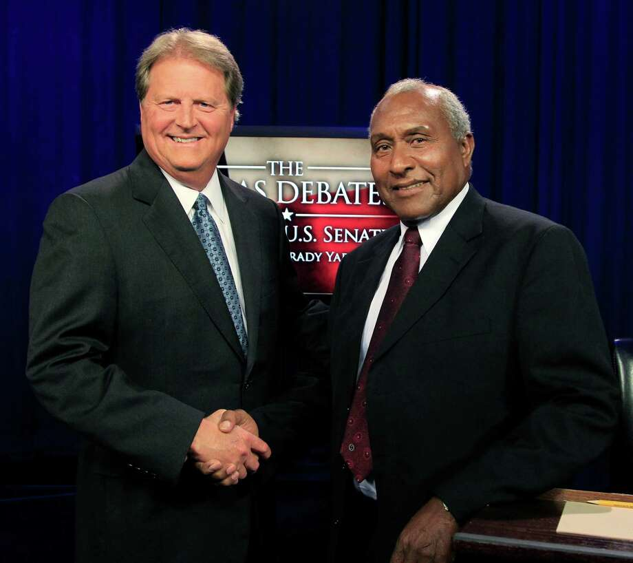 Democratic U.S. Senate candidates Paul Sadler, left, and Grady Yarbrough pose for photos after their debate, Tuesday, June 26, 2012 at KERA-TV studios in Dallas. The debate will be broadcast on KERA-TV Channel 13 at 7:00 p.m. CDT on Wednesday, June 27, with an encore broadcast at 1:00 p.m. on Sunday, July 1. (AP Photo/The Dallas Morning News, David Woo)  MANDATORY CREDIT; MAGS OUT; TV OUT; INTERNET OUT; AP MEMBERS ONLY Photo: AP