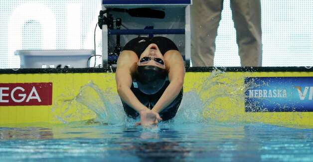 Rachel Bootsma starts in the women's 100-meter backstroke preliminaries at the U.S. Olympic swimming trials, Tuesday, June 26, 2012, in Omaha, Neb. (AP Photo/David J. Phillip) Photo: Associated Press