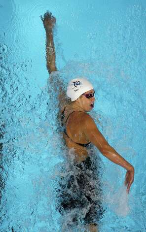 Katie Hoff swims in the women's 400-meter freestyle preliminaries at the U.S. Olympic swimming trials, Tuesday, June 26, 2012, in Omaha, Neb. (AP Photo/Mark Humphrey) Photo: Associated Press