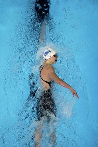 Kathleen Ledecky swims in the women's 400-meter freestyle preliminaries at the U.S. Olympic swimming trials, Tuesday, June 26, 2012, in Omaha, Neb. (AP Photo/Mark Humphrey) Photo: Associated Press