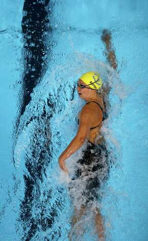 Chloe Sutton swims in the women's 400-meter freestyle preliminaries at the U.S. Olympic swimming trials, Tuesday, June 26, 2012, in Omaha, Neb. (AP Photo/Mark Humphrey) Photo: Associated Press