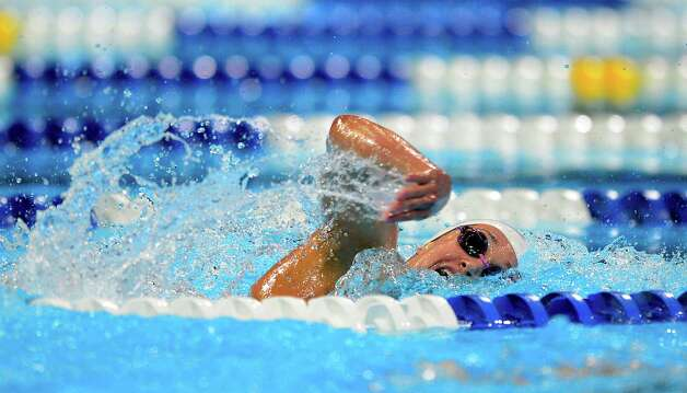 Katie Hoff swims in the women's 400-meter freestyle preliminaries at the U.S. Olympic swimming trials, Tuesday, June 26, 2012, in Omaha, Neb. (AP Photo/Mark J. Terrill) Photo: Associated Press
