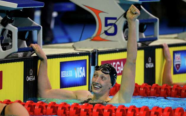 Beeja Larson reacts after swimming in the women's 100-meter breaststroke semifinal at the U.S. Olympic swimming trials, Tuesday, June 26, 2012, in Omaha, Neb. (AP Photo/Mark J. Terrill) Photo: Associated Press