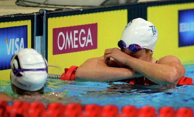 Katie Hoff reacts after swimming in the women's 400-meter freestyle preliminaries at the U.S. Olympic swimming trials, Tuesday, June 26, 2012, in Omaha, Neb. (AP Photo/Mark J. Terrill) Photo: Associated Press