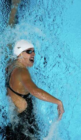 Allison Schmitt swims in the women's 400-meter freestyle final at the U.S. Olympic swimming trials, Tuesday, June 26, 2012, in Omaha, Neb. Schmitt won the final. (AP Photo/Mark Humphrey) Photo: Associated Press