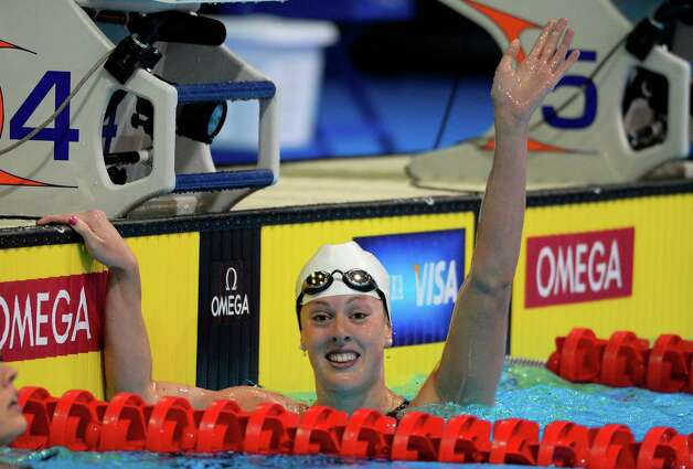 Allison Schmitt waves after winning the women's 400-meter freestyle final at the U.S. Olympic swimming trials, Tuesday, June 26, 2012, in Omaha, Neb. (AP Photo/Mark J. Terrill) Photo: Associated Press