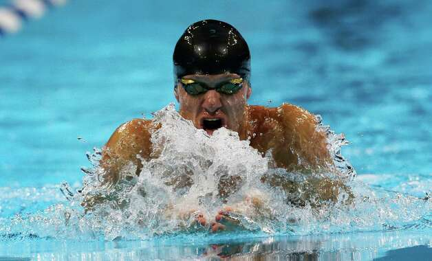 Brendan�Hansen swims in the men's 100-meter breaststroke final at the U.S. Olympic swimming trials, Tuesday, June 26, 2012, in Omaha, Neb. (AP Photo/David J. Phillip) Photo: Associated Press