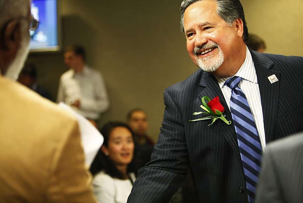 Superintendent Carlos Garcia is attending his last school board meeting in San Francisco, Calif. on Tuesday, June 26, 2012.