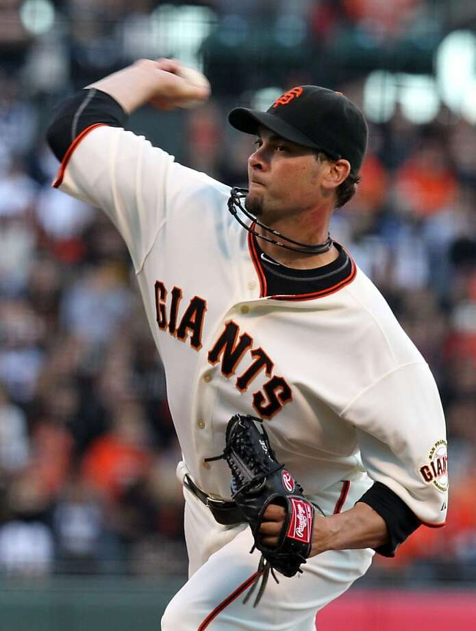 San Francisco Giants starting pitcher Ryan Vogelsong throws to the Los Angeles Dodgers in the first inning of their MLB baseball game at AT&T Park in San Francisco Tuesday June 26, 2012. Photo: Lance Iversen, The Chronicle