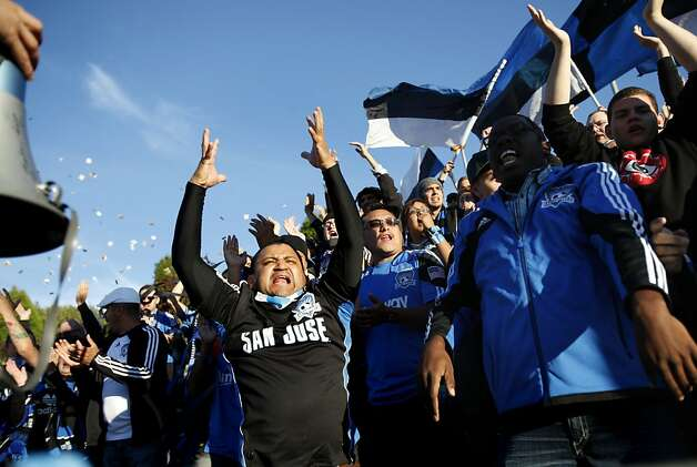San Jose Earthquakes fans cheer for their team at Kezar Stadium  in San Francisco, Calif., Tuesday, June 26, 2012.  They lost to the Seattle Sounders 1-0. Photo: Sarah Rice, Special To The Chronicle