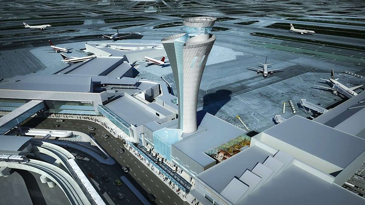 The new air control tower at SFO, to be completed by the end of 2014, will be 221 feet tall. It will feature a torch-like appearance and a clear glass base