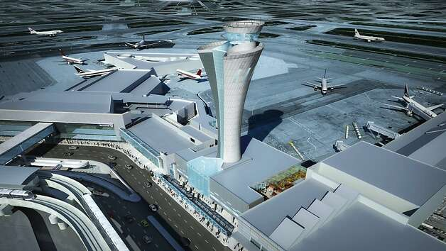 The new air control tower at SFO, to be completed by the end of 2014, will be 221 feet tall. It will feature a torch-like appearance and a clear glass base Photo: HNTB Architecture / SF