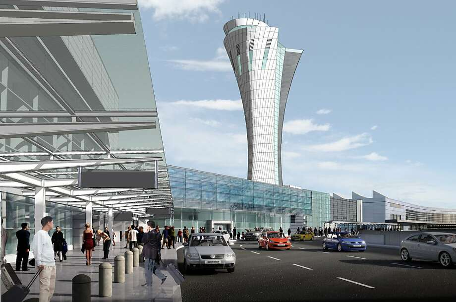 The new air control tower at SFO, to be completed by the end of 2014, will be 221 feet tall. Photo: HNTB Architecture