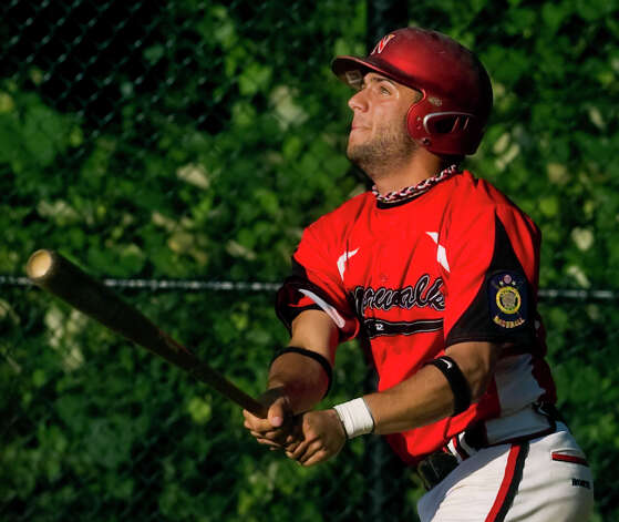 Norwalk's #22 Mike Parlanti gets a hit, during American Legion baseball action against Darien/New Canaan in Darien, Conn. on Tuesday June 26, 2012. Photo: Christian Abraham / Connecticut Post