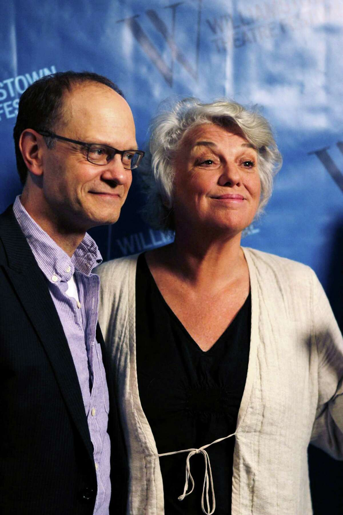 Director, David Hyde Pierce and actress Tyne Daly, pose for photos during a press availability for the upcoming Williamstown Theatre Festival, Tuesday evening, June 19, 2012 in Williamstown, Mass. This year's festivals includes productions of