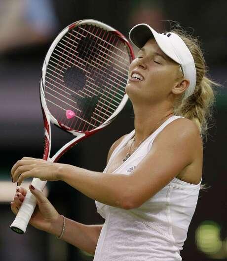 Caroline Wozniacki laments her struggles during a three-set to Tamira Paszek on Wednesday. Photo: AP
