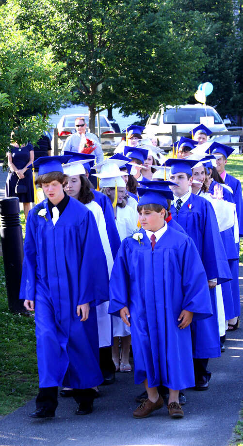 Eighth-graders participate in the processional to begin the Sherman School graduation exercises, June 15, 2012 Photo: Walter Kidd