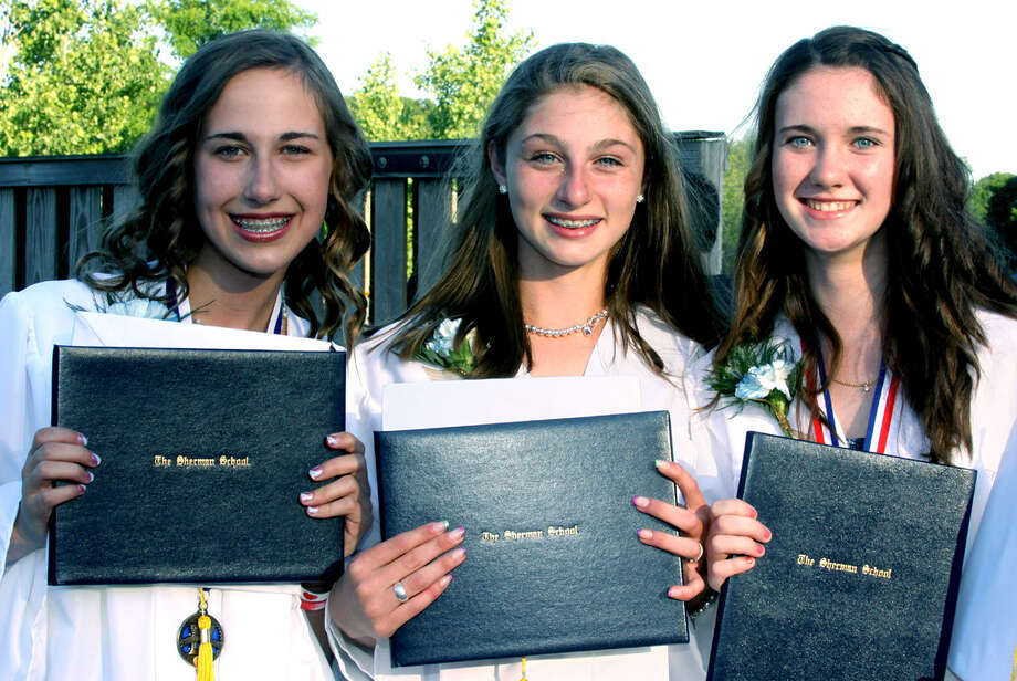 Happy to share their smiles on a milestone day for the graduates are, from left to right, Clare Head, Giana Johnson and Kelly Quinn, after the Sherman School graduation exercises, June 15, 2012 Photo: Walter Kidd