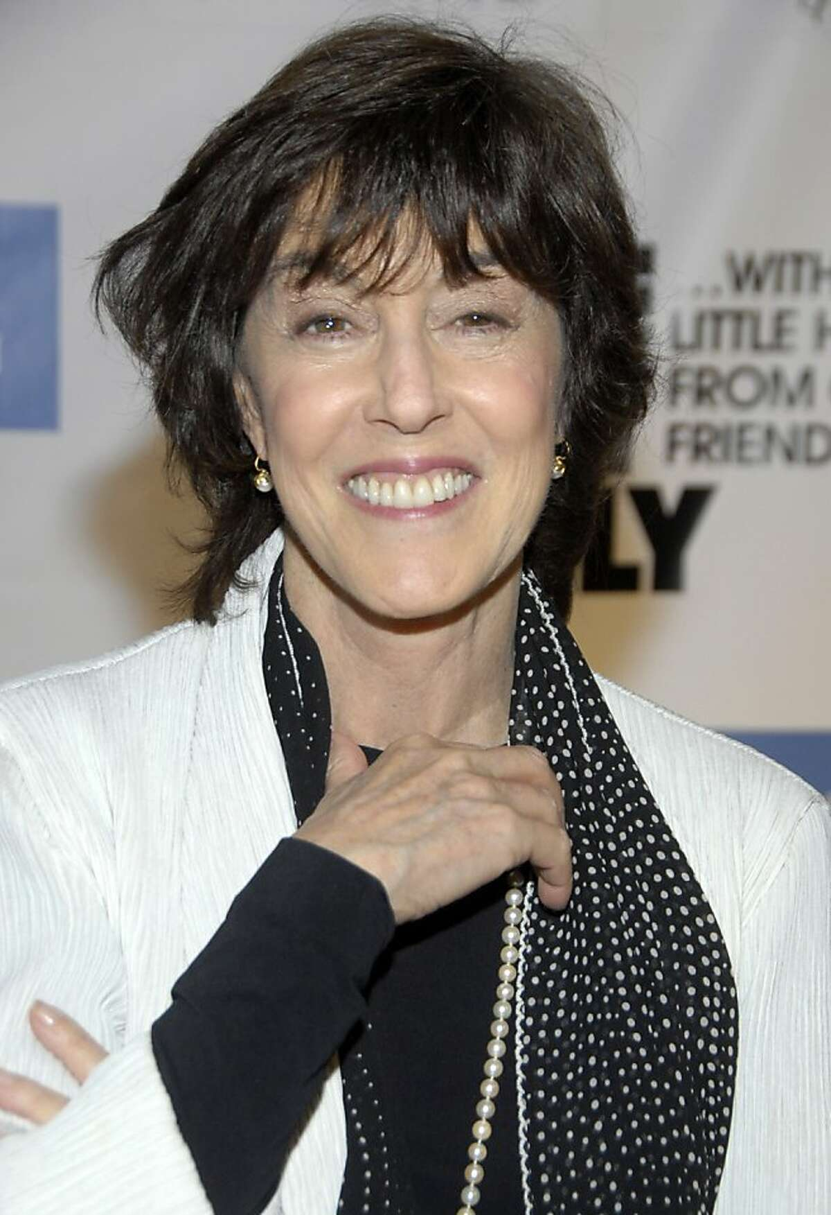 """FILE - In this Dec. 2, 2008 file photo, director Nora Ephron poses on the press line at """"One Night Only...With a Little Help From Our Friends"""" benefiting UCLA School of Theater, Film and Television at Royce Hall in Los Angeles. Publisher Alfred A. Knopf confirmed Tuesday, June 26, 2012, that author and filmmaker Nora Ephron died Tuesday of leukemia. (AP Photo/Dan Steinberg, file)"""