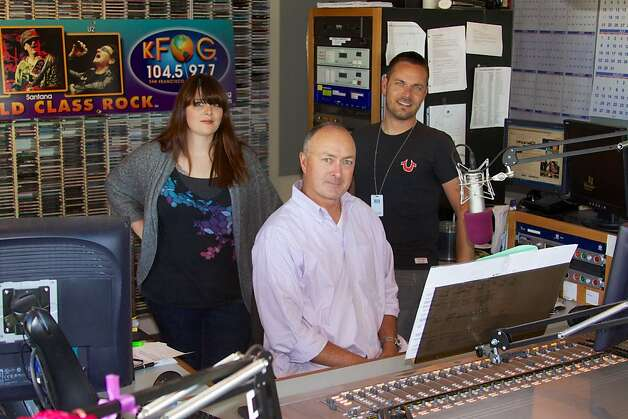 The KFOG morning team, summer 2012 Left) Melanie Walker (Center) Tim Jeffreys  (Right) Greg Gory. Photo: Rob Hunt