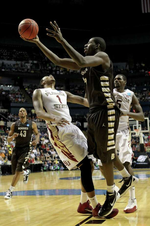 The Spurs have had their eye on St. Bonaventure's Andrew Nicholson, who will likely be gone by the time they pick. Photo: Jamie Squire, Getty Images / 2012 Getty Images