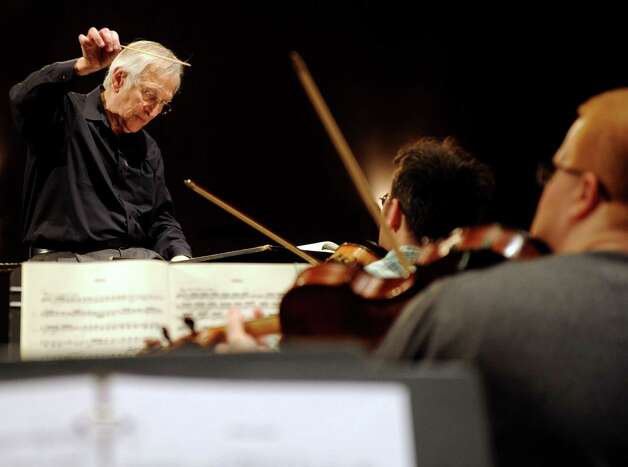 Gustav Meier is shown conducting the Greater Bridgeport Symphony in rehearsal at the Klein Memorial Auditorium in Bridgeport in 2011. He says he is returning to Bridgeport on Oct. 20 to open the 2012-13 season. Photo: Lindsay Niegelberg, ST / Connecticut Post