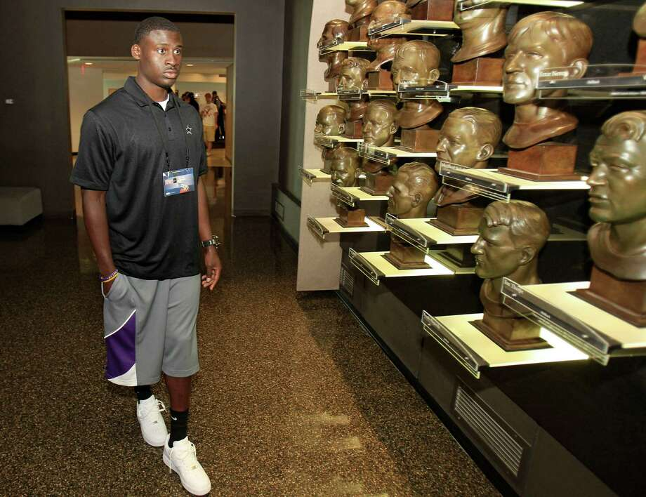 Cowboys cornerback and first-round pick Morris Claiborne tours the Pro Football Hall of Fame in Canton, Ohio, a trip made by all of the 2012 NFC rookies Wednesday. Photo: AP