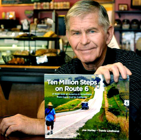 """Ten Million Steps on Route 6"" is an account of a cross-country walk accomplished by New Milford resident Joe Hurley. June 2012 Photo: Michael Duffy"