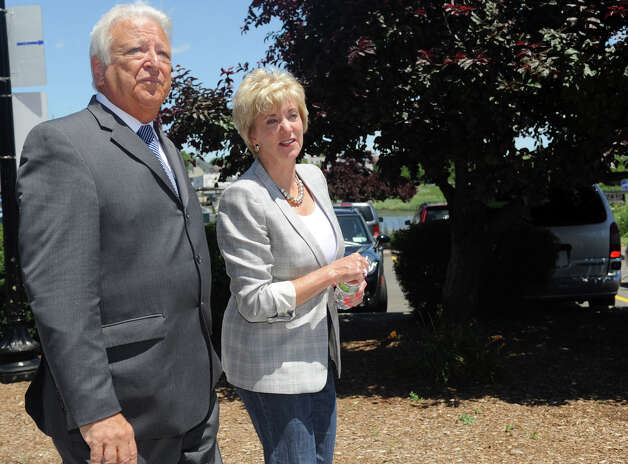 Republican Party-endorsed U.S. Senate candidate Linda McMahon is taken on a walking tour of South Norwalk by Mayor Dick Moccia on Wednesday, June 27, 2012. Photo: Lindsay Niegelberg / Stamford Advocate