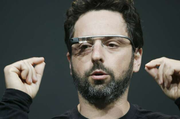 Sergey Brin, co-founder of Google appear at the keynote with the Google Glass to introduce the Google Class Explorer edition during Google's annual developer conference, Google I/O, on June 27, 2012 in San Francisco. AFP PHOTO/Kimihiro HoshinoKIMIHIRO HOSHINO/AFP/GettyImages Photo: Kimihiro Hoshino, AFP/Getty Images
