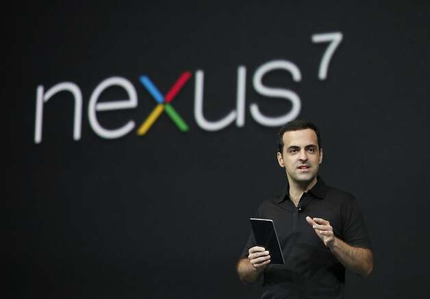 Hugo Barra, product management director of Android, introduces Google's low-cost computer tablet Google Nexus 7 during the keynote at Google's annual developer conference, Google I/O, on June 27, 2012 in San Francisco, California.    AFP PHOTO / Kimihiro HoshinoKIMIHIRO HOSHINO/AFP/GettyImages Photo: Kimihiro Hoshino, AFP/Getty Images