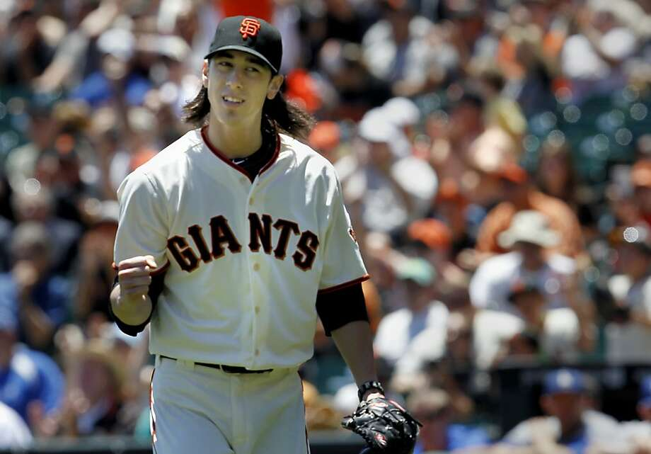 Tim Lincecum reacted to a first inning double play. The San Francisco Giants vs. the Los Angeles Dodgers in the last of a three game series Wednesday June 27, 2012 at AT&T park. Photo: Brant Ward, The Chronicle