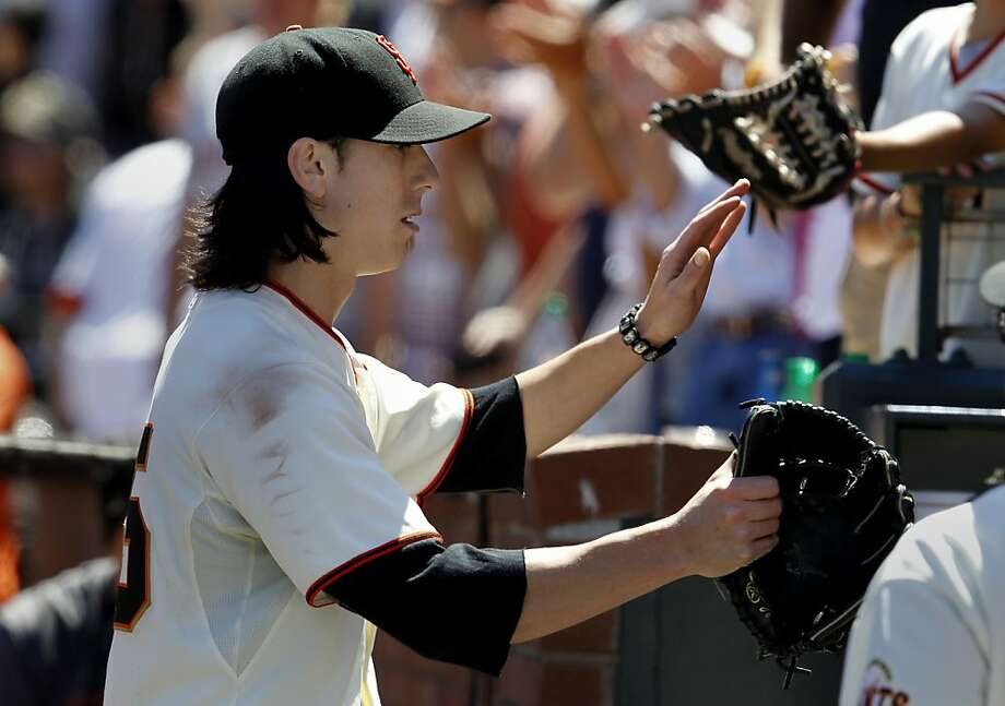 Tim Lincecum retuned to the dugout after the end of the 7th inning leading 3-0. The San Francisco Giants vs. the Los Angeles Dodgers in the last of a three game series Wednesday June 27, 2012 at AT&T park. Photo: Brant Ward, The Chronicle