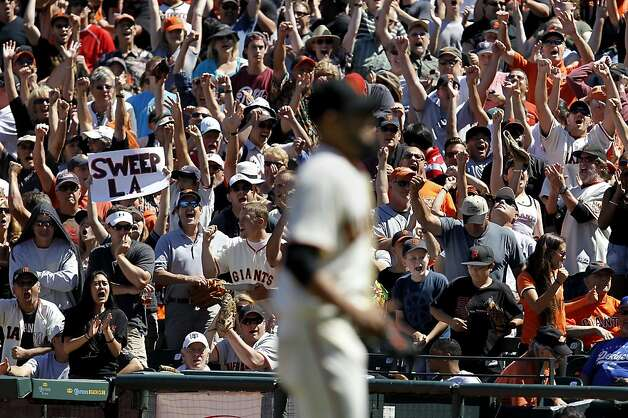 The crowd erupts as Sergio Romo gets the last out and a sweep of the Dodgers. The San Francisco Giants beat the Los Angeles Dodgers 3-0 Wednesday June 27, 2012 at AT&T park. Photo: Brant Ward, The Chronicle