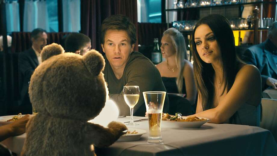 "Ted (voiced by SETH MACFARLANE) has dinner with his best friend, John (MARK WAHLBERG), and John's girlfriend Lori, (MILA KUNIS), in the live action/CG-animated comedy ""Ted"". Photo: Iloura, Universal Pictures"