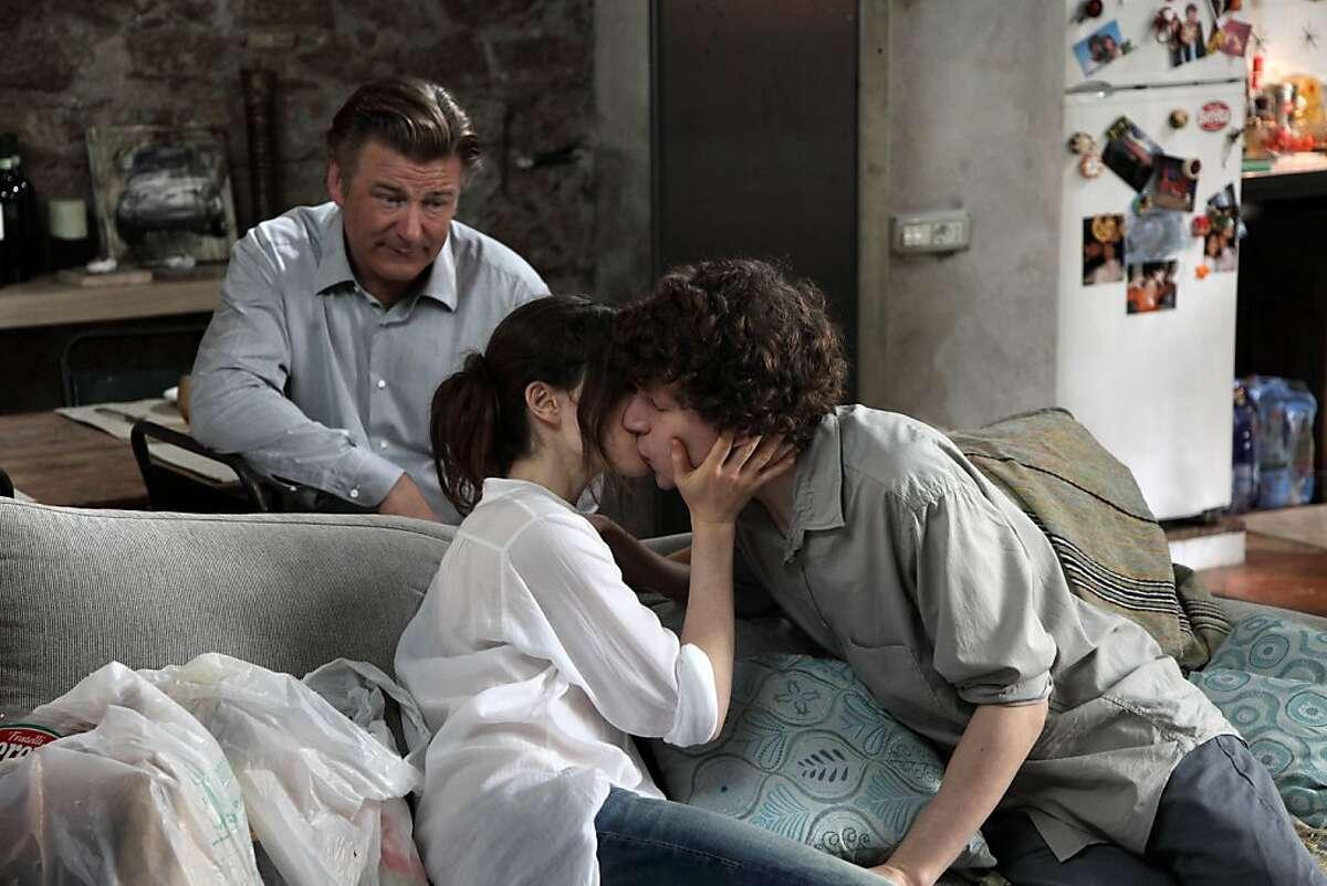 Left to Right: Alec Baldwin as John, Ellen Page as Moniac and Jesse Eisenberg as Jack in,
