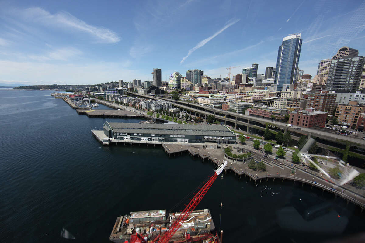The Seattle waterfront is seen from the top of the new Seattle Great Wheel as it takes a few turns on Wednesday, June 27, 2012.