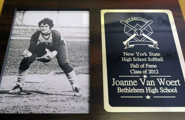 Hall of Fame plaque of Dr. Joann Van Woert, former Bethlehem High School and Yale University athlete, now practices internal medicine and was recently inducted into the New York State High School Softball Hall of Fame at her practice in Slingerlands N.Y. Wednesday June 27, 2012. (Michael P. Farrell/Times Union) Photo: Michael P. Farrell