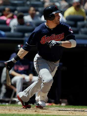 Cleveland Indians' Jason Kipnis hits an RBI single during the fifth inning of a baseball game against the New York Yankees Wednesday, June 27, 2012, in New York. (AP Photo/Frank Franklin II) Photo: Frank Franklin II