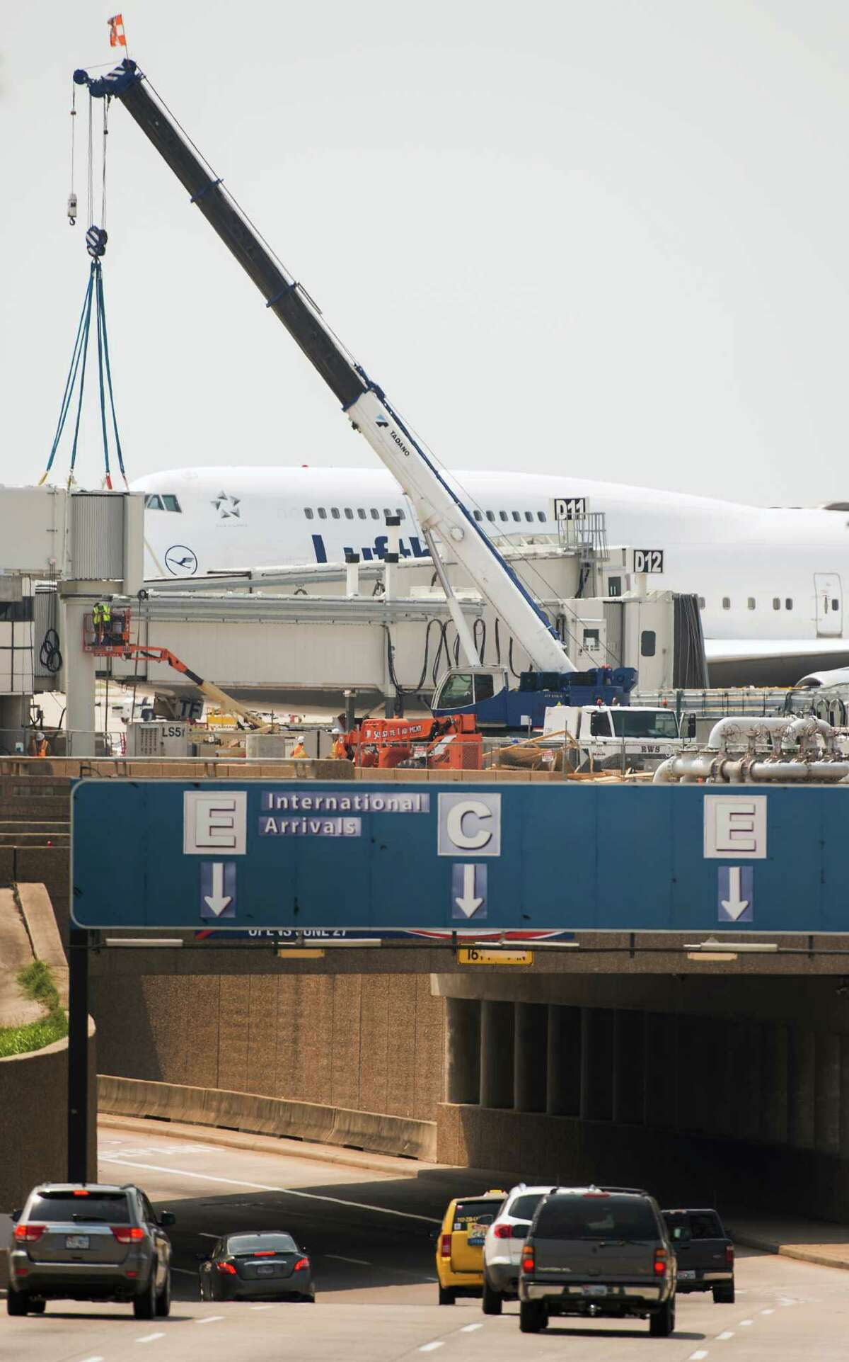 Special jet bridges are being installed at Bush Intercontinental Airport for passengers to board Lufthansa's double-deck Airbus A380. The giant jet is scheduled to arrive in Houston Aug. 1.