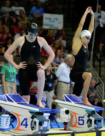 Missy Franklin, left, and Katie Hoff prepare to swim in the women's 200-meter freestyle preliminaries at the U.S. Olympic swimming trials, Wednesday, June 27, 2012, in Omaha, Neb. (AP Photo/Mark J. Terrill) Photo: Associated Press