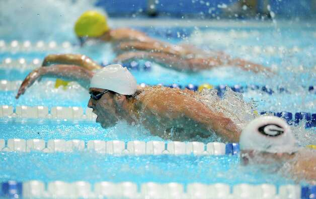 Michael Phelps swims in the men's 200-meter butterfly preliminaries at the U.S. Olympic swimming trials, Wednesday, June 27, 2012, in Omaha, Neb. (AP Photo/Mark J. Terrill) Photo: Associated Press