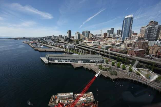 The Seattle waterfront is seen from the top of the new Seattle Great Wheel as it takes a few turns on Wednesday, June 27, 2012. (JOSHUA TRUJILLO / SEATTLEPI.COM)