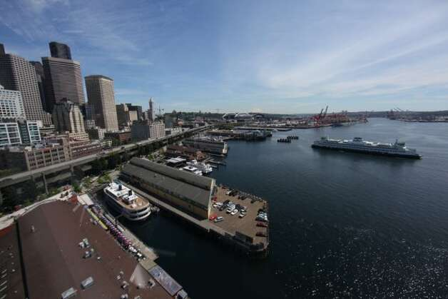 The Seattle waterfront is seen from the top of the new Seattle Great Wheel. (JOSHUA TRUJILLO / SEATTLEPI.COM)
